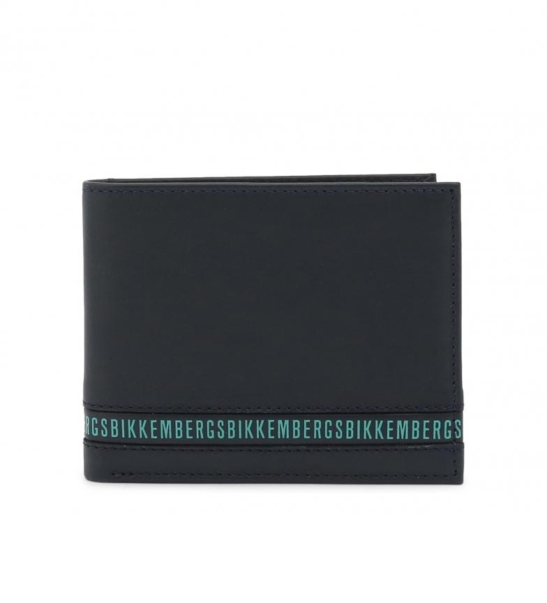 Bikkembergs Carteira de couro E2BPME2D3043 azul -11x9,5x1,5cm