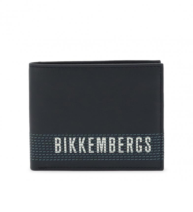 Bikkembergs Portefeuille en cuir E2BPME1Y3043 bleu 11,5x9,5x1,5cm