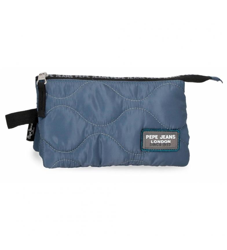Pepe Jeans Trousse à crayons bleue Orson -22x12x5cm
