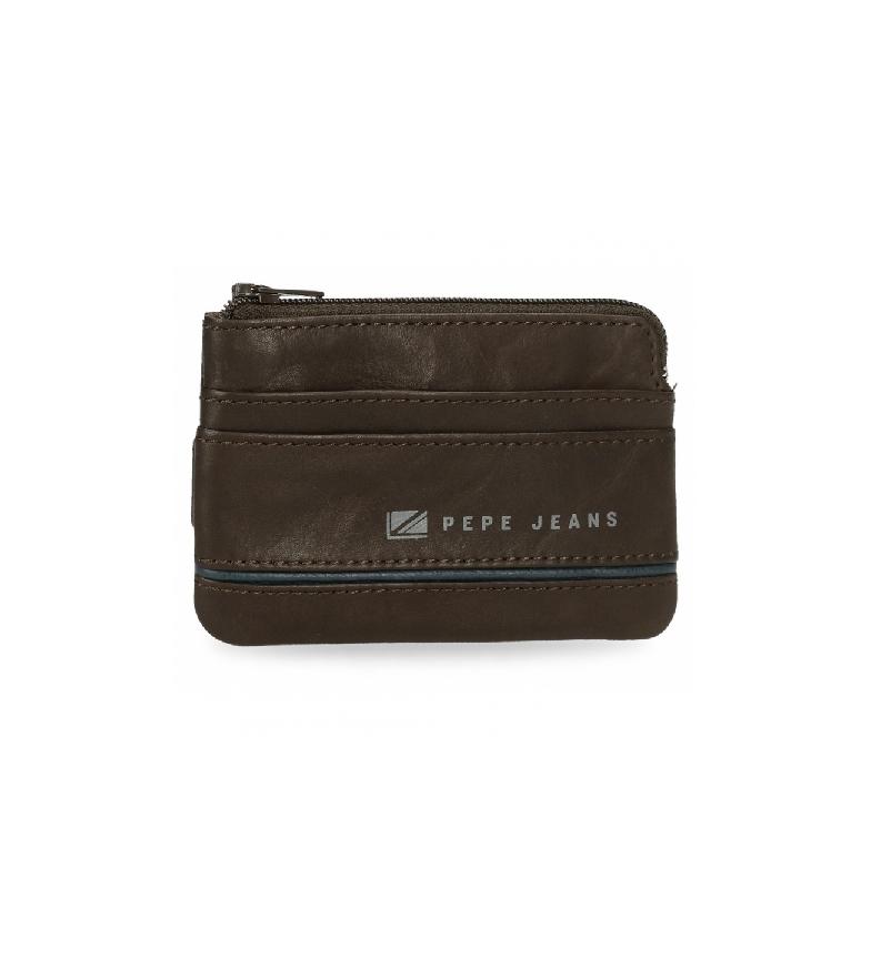 Pepe Jeans Sac à main en cuir moyen marron -11 x 7 x 1,5 cm