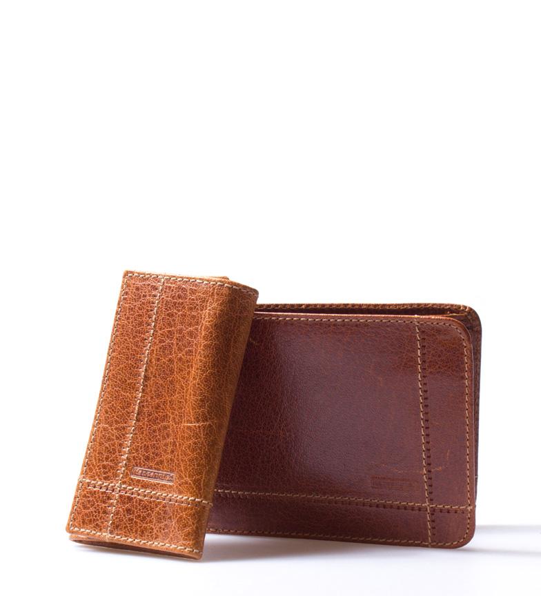 Comprar Marsan Piel Set de cartera + llavero de piel Horu cuero-12,5x2x9,5cmcm / 6,5x2,5x10,5cm-