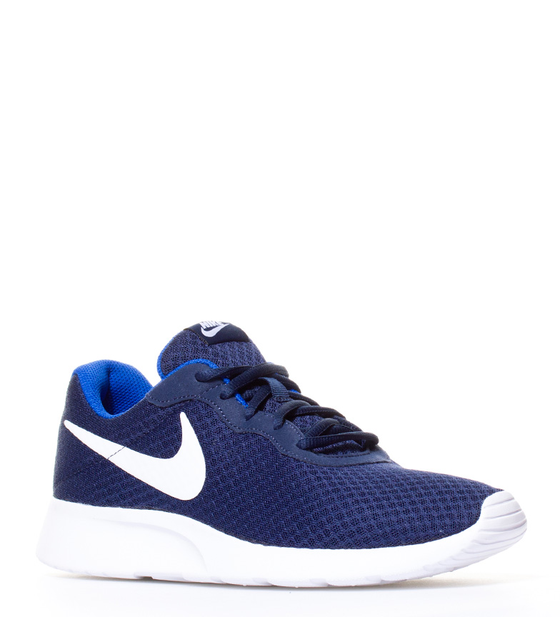 Nike-Chaussures-Tanjun-Homme-Bleu-Noir-Blanc-Tissu-Lacets-Sportswear-Plat miniature 27