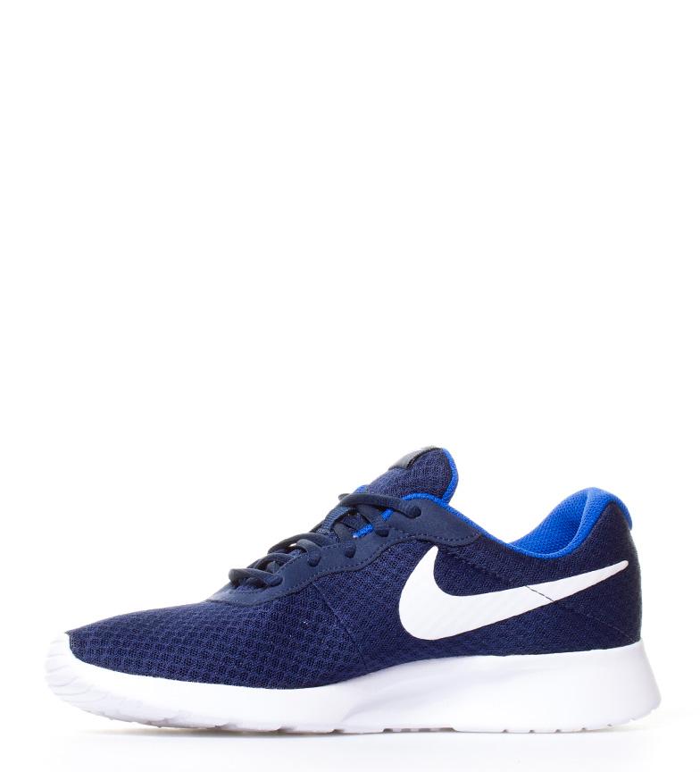 Nike-Chaussures-Tanjun-Homme-Bleu-Noir-Blanc-Tissu-Lacets-Sportswear-Plat miniature 30
