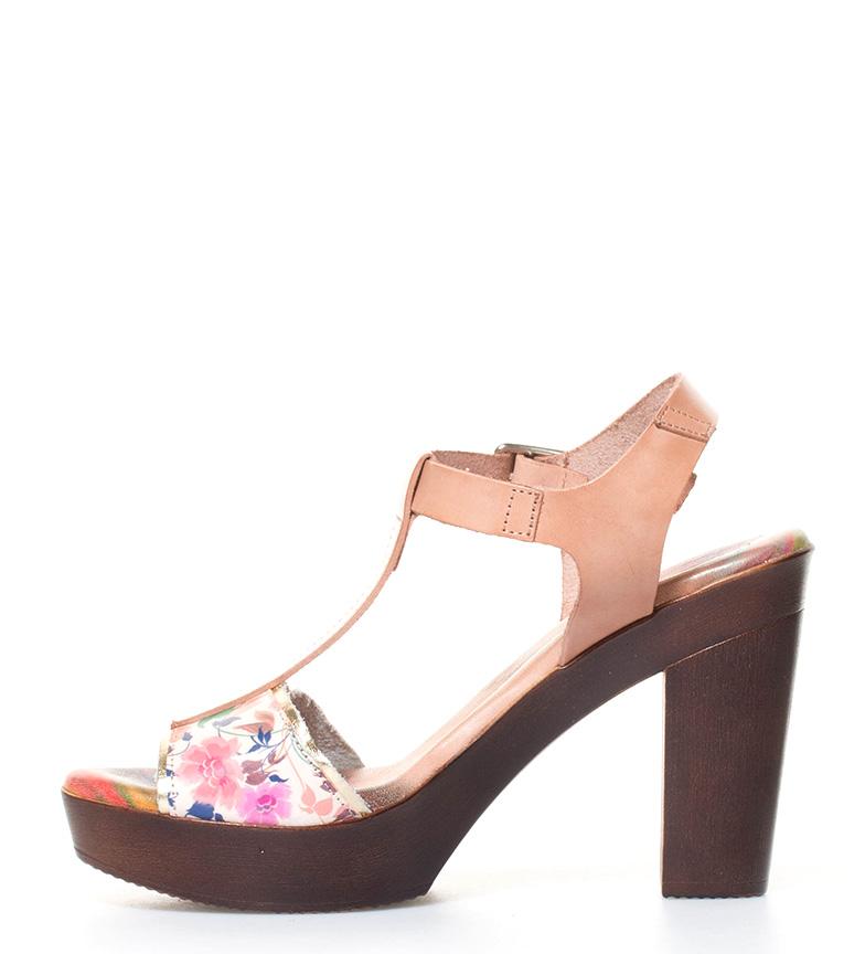 Raquel Perez Sandalias de piel en beige con estampado floral Altura tacón: 11cm