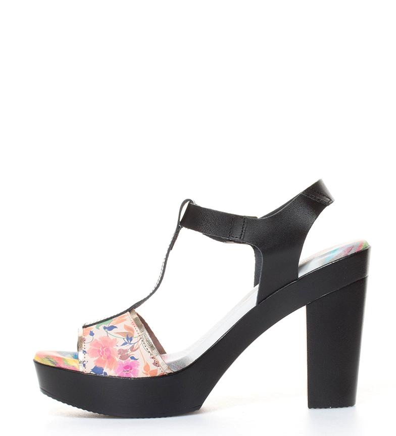 Raquel 11cm Perez br estampado floral con negro de Altura tacón br piel en Sandalias rrOf4