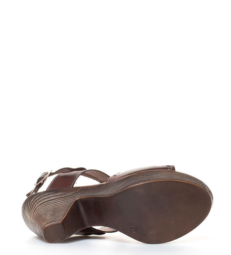 marrón br 10cm tacón Perez Raquel Sandalias de piel en Altura br 0q40Xp6xw