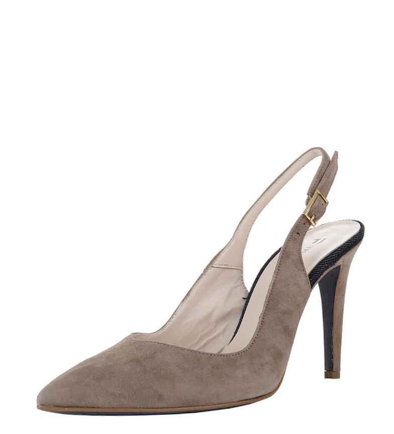 color de Altura Trussardi Zapatos 10cm Zapatos tacón Trussardi de serraje taupe wfIpYISqP