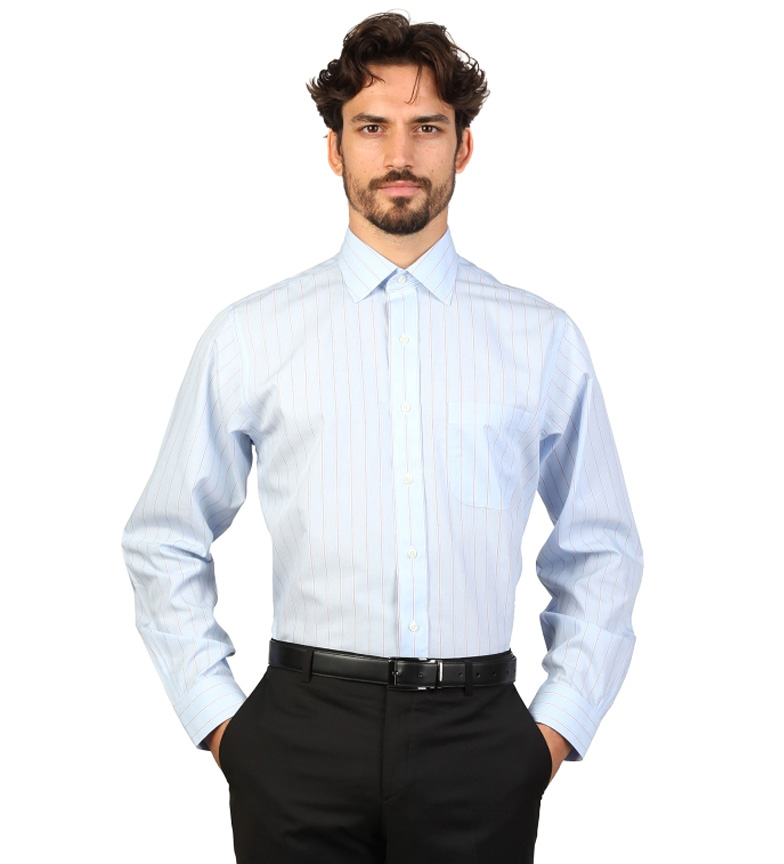 Comprar Brooks Brothers Camisa slim fit color celeste con finas rayas