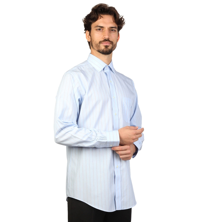 Fit Rayas Camisa Color Con Celeste Brooks Brothers Finas slim f7bv6Yyg