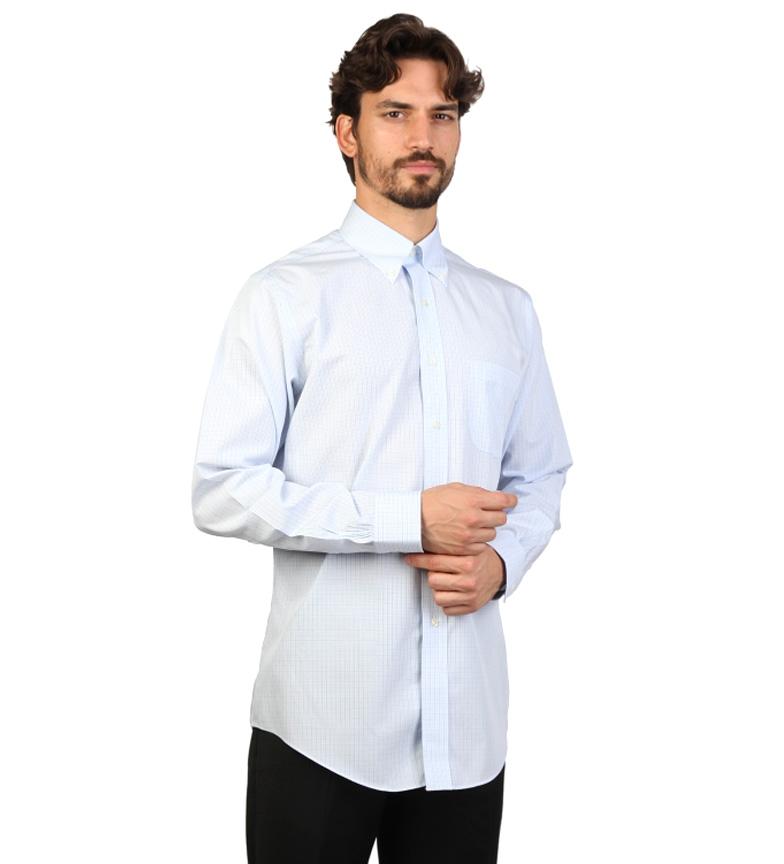 Brooks Brothers Camisa slim fit color celeste con cuadros