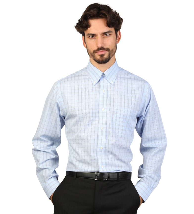 Comprar Brooks Brothers Camisa slim fit color azul claro con cuadros