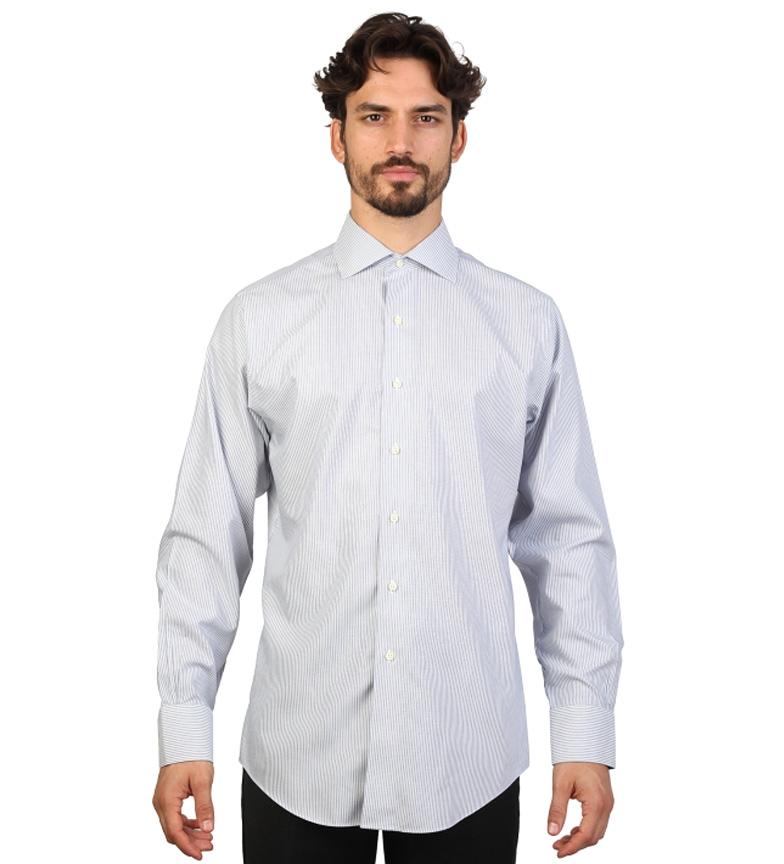 Brooks Brothers Camisa slim fit color gris y blanco con finas rayas