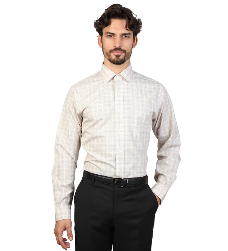 Comprar Brooks Brothers Camisa slim fit color beige con cuadros