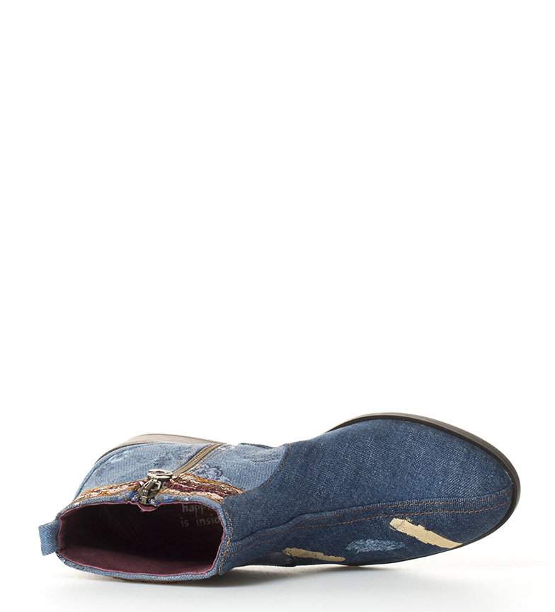 br Altura Desigual Jeans Patch 3cm br tacón Denim Boho Botines WcrcPfYF