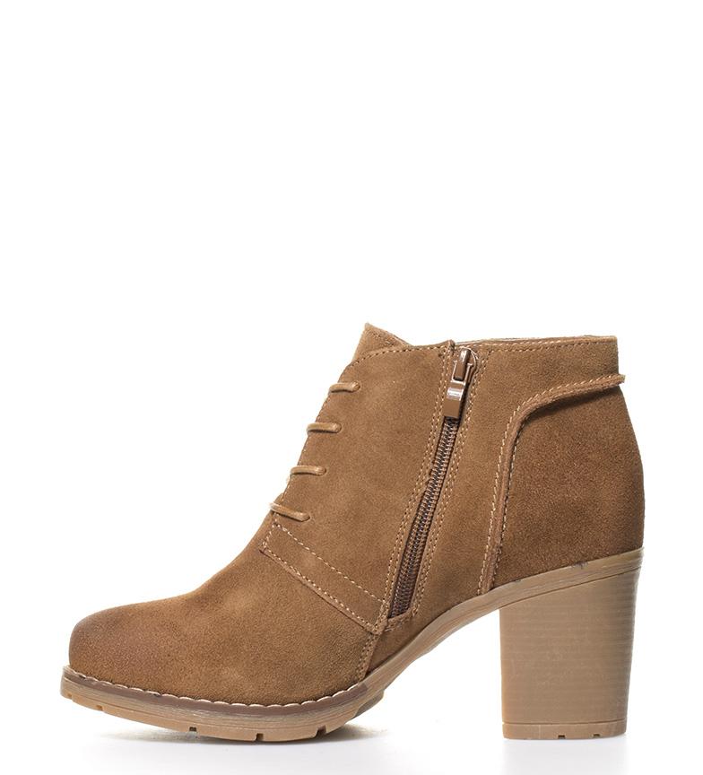 br de Zapatos serraje Gina 5cm abotinados br Altura Sonnax 7 camel tacón Uq0Cw