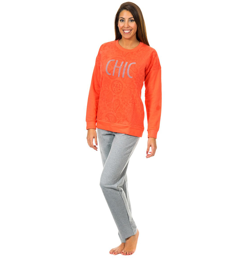 Kisses & Love Pijama m/larga color �ndigo, gris jaspeado
