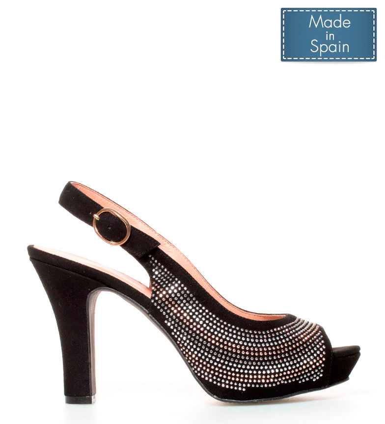 Altura 11cm negro plataforma Estefania piel Sandalias tacón Alina Marco de qUUSzYw