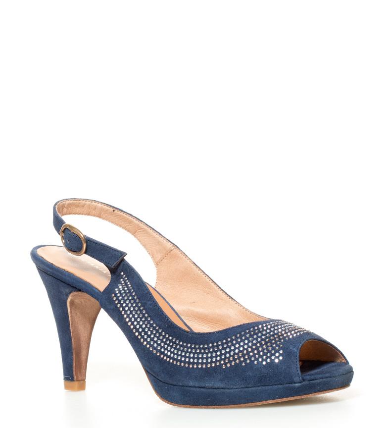 10cm Altura Sandalias azul Fabiola de tacón plataforma Estefania Marco piel SwqwTf