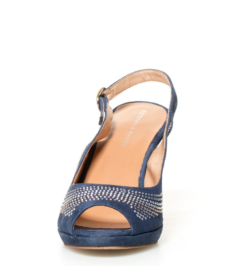 Sandalias azul Estefania tacón de plataforma Marco Fabiola Altura piel 10cm vFwqBw5