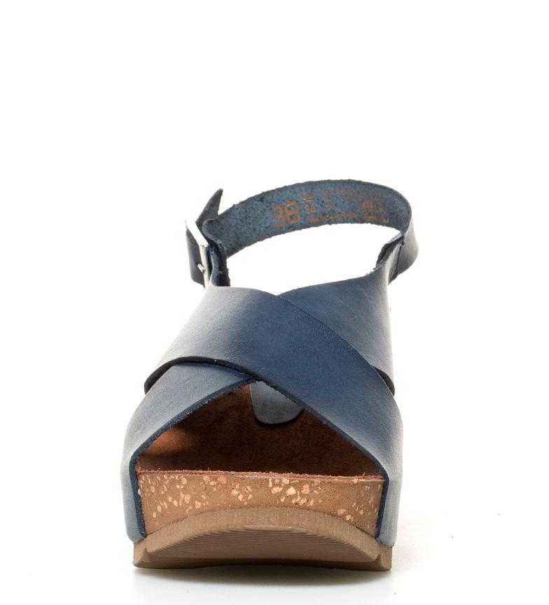 Altura Sandalias marino 030 de br Yokono 7cm br piel cuña Bari 8OdgwxPH