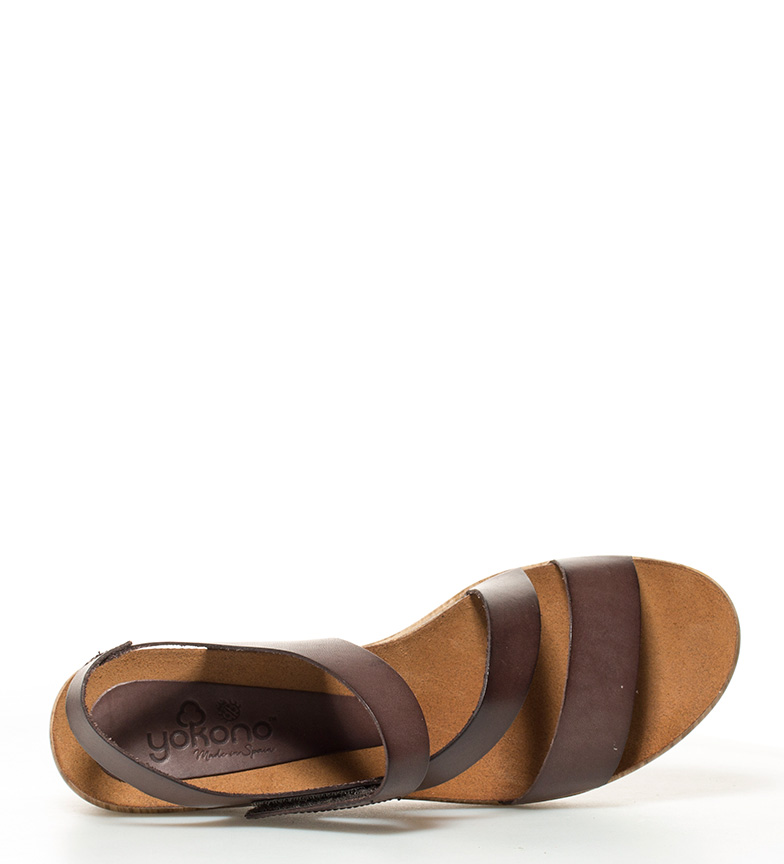 Daya marrón br de Altura 022 Yokono br cuña Sandalias piel 6cm TARBwtn