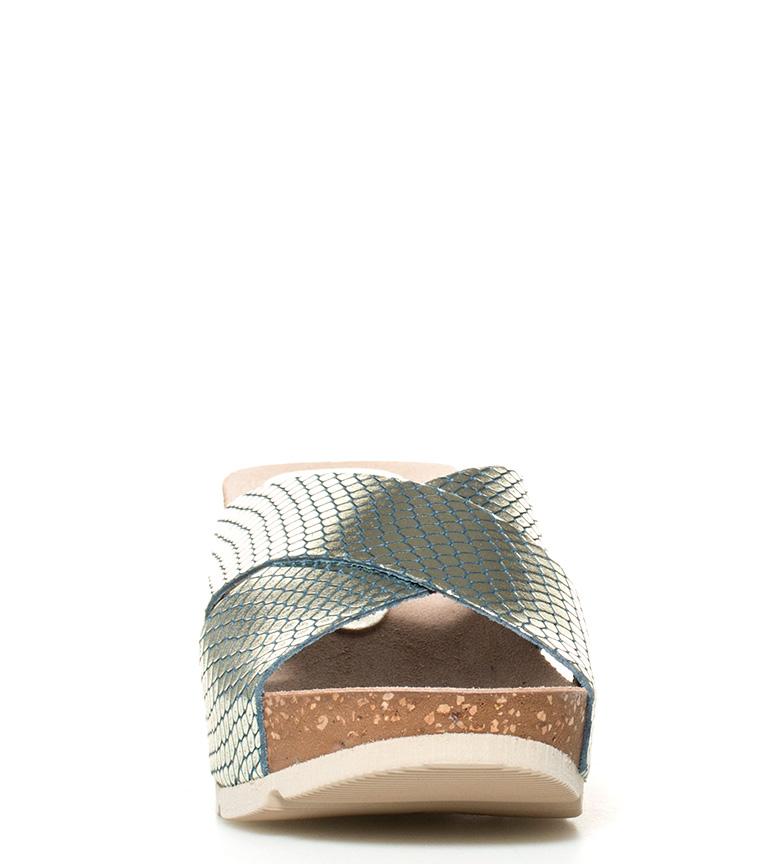Bari Altura marino br 005 7cm Sandalias de cuña piel br Yokono qwUxO8tcg