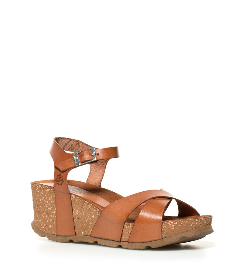 Sandalias 7cm marrón Bari 032 de br br Yokono piel Altura cuña BqdPHH