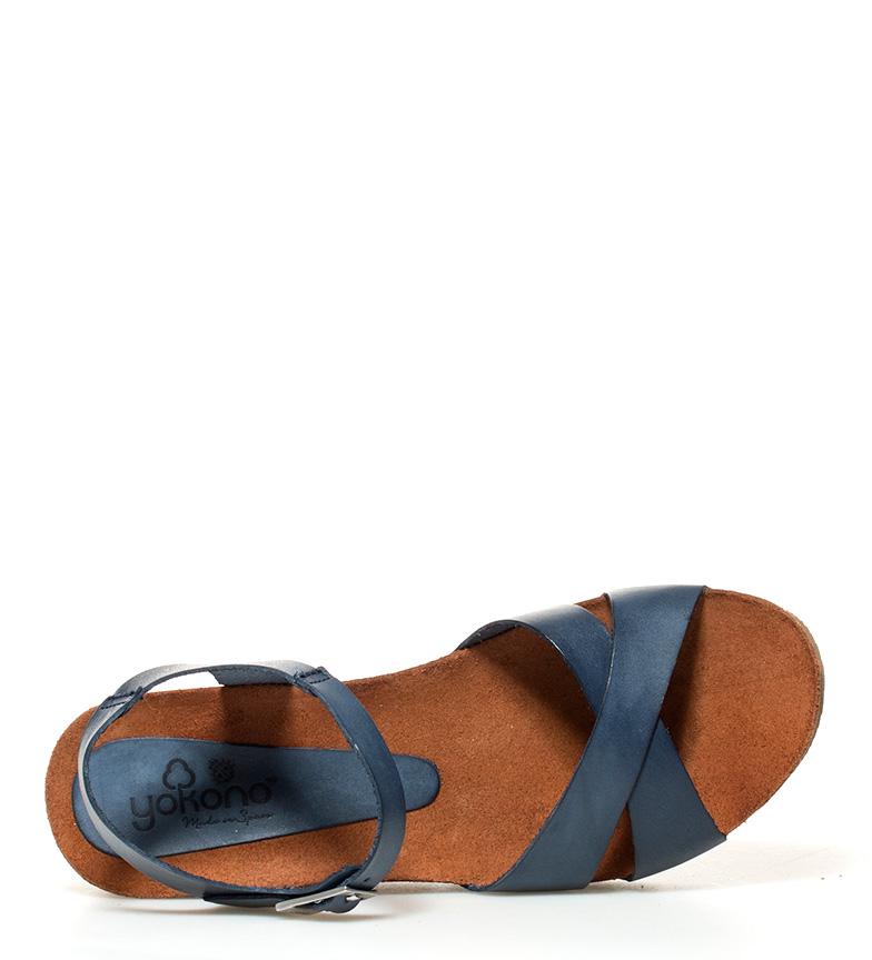 Yokono Sandalias de piel Bari 032 marino Altura cuña: 7cm