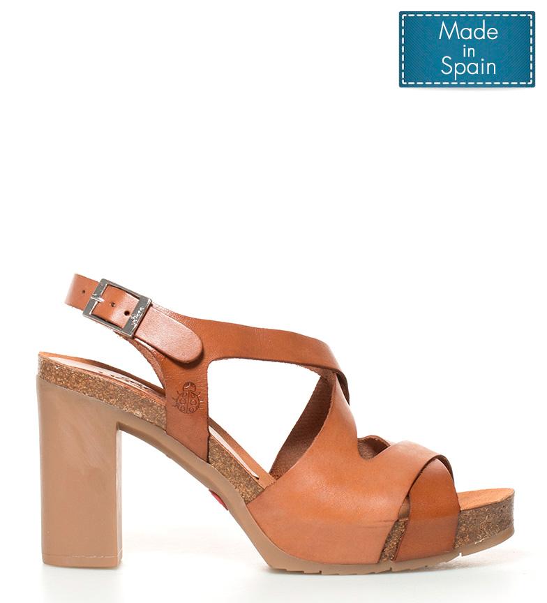 Yokono Sandalias de piel Malibu 010 marrón Altura tacón + plataforma: 10cm