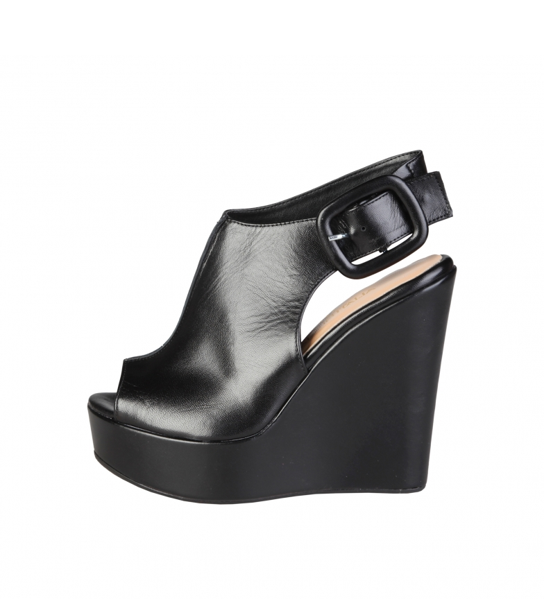 Comprar Made In Italia Sandalias de piel Clotilde negro -Altura cuña: 13cm-