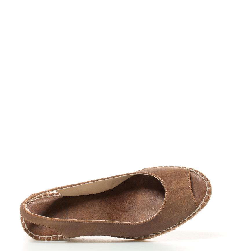 Espadrilles Alpargatas de piel marrón Altura cuña: 6,5cm