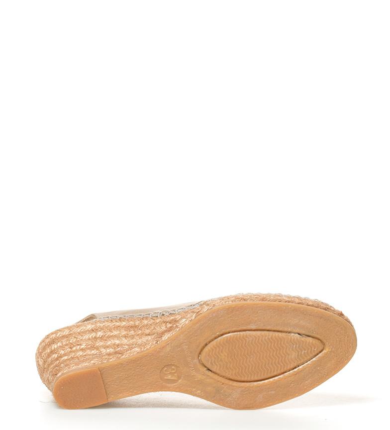 piel Alpargatas piedra Alpargatas Espadrilles de Altura piedra 5cm Espadrilles cuña 6 de piel Cwq0xXHxg