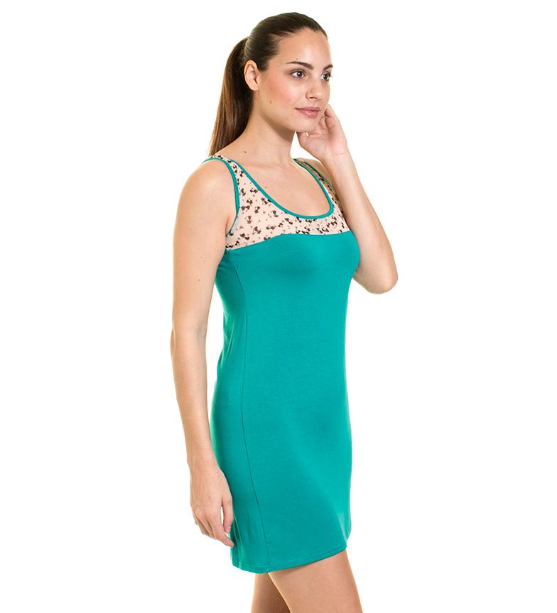 Azura Vestido transparencias turquesa