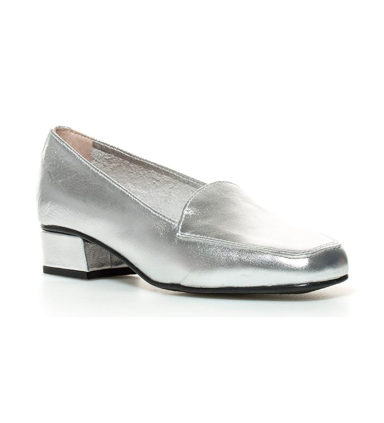 tacón piel plata D´Chicas 3cm de Altura Zapatos Hebe br br FqfCpw