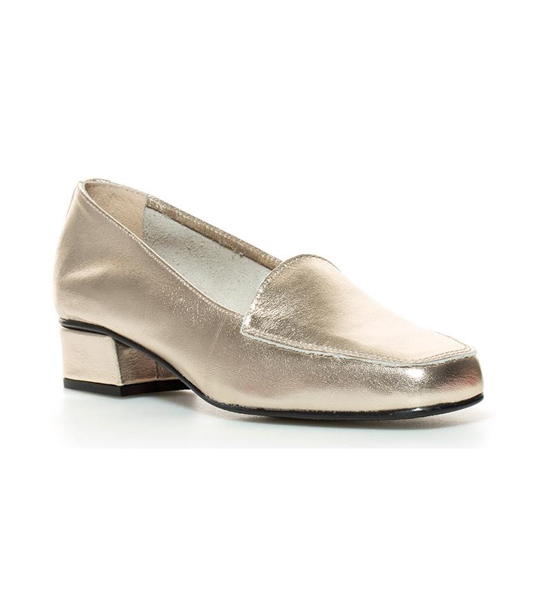 tacón Zapatos piel de D´Chicas br br dorado Altura 3cm Hebe 87xfq6wfZ