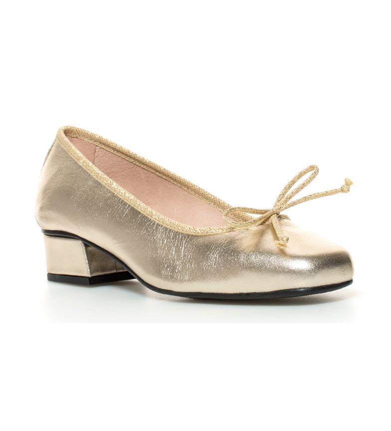 Zapatos de dorado tacón D´Chicas piel Altura Lux br 3cm br dqfx5axT