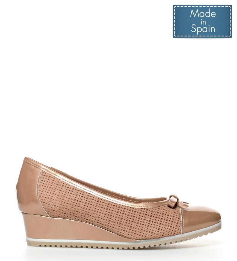 Zapatos dorado cuña Mati Altura br D´Chicas de 4cm piel br TwqdndH6
