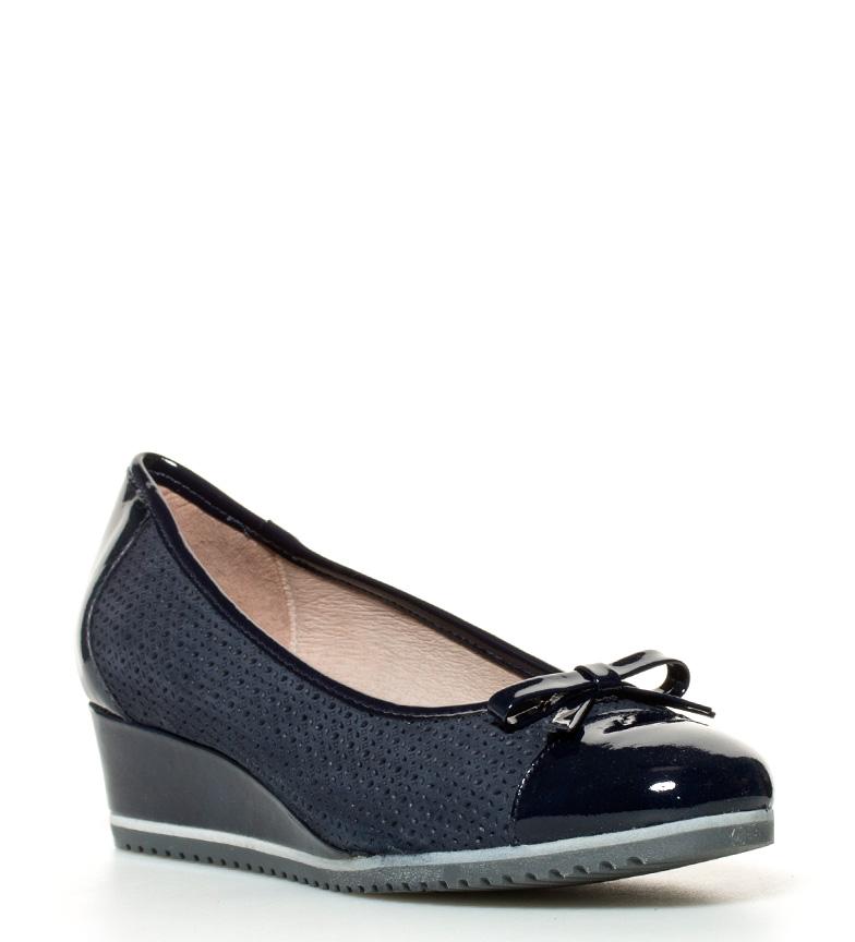 br Altura cuña br D´Chicas Mati 4cm Zapatos piel de azul xBqpaR