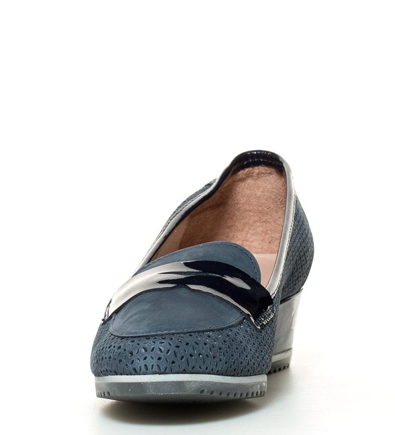 br de azul br 4cm cuña Altura Zapatos Bea D´Chicas piel RcFwOqyv