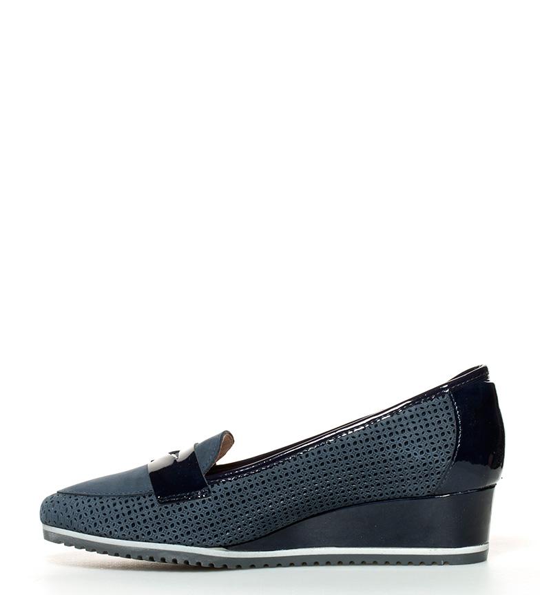Zapatos 4cm cuña de br Bea piel Altura br D´Chicas azul AqwCBxzqd