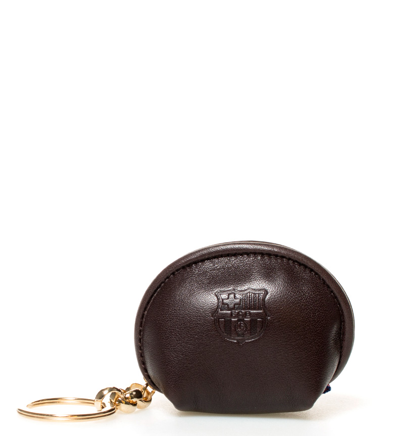 Comprar FC Barcelona Porte-monnaie en cuir brun clé FCB -6x7,5 cm-