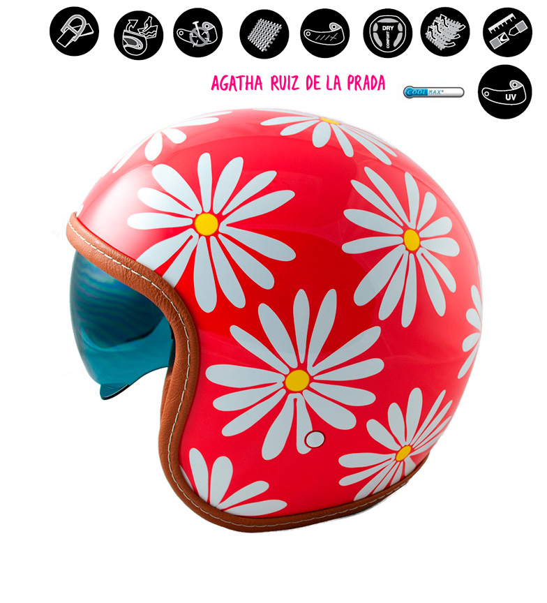 Comprar Lem Helmets Capacete jet LEM Sport Margaritas vermelho
