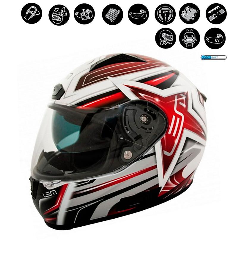Comprar Lem Helmets Casco integral LEM Star rojo, blanco