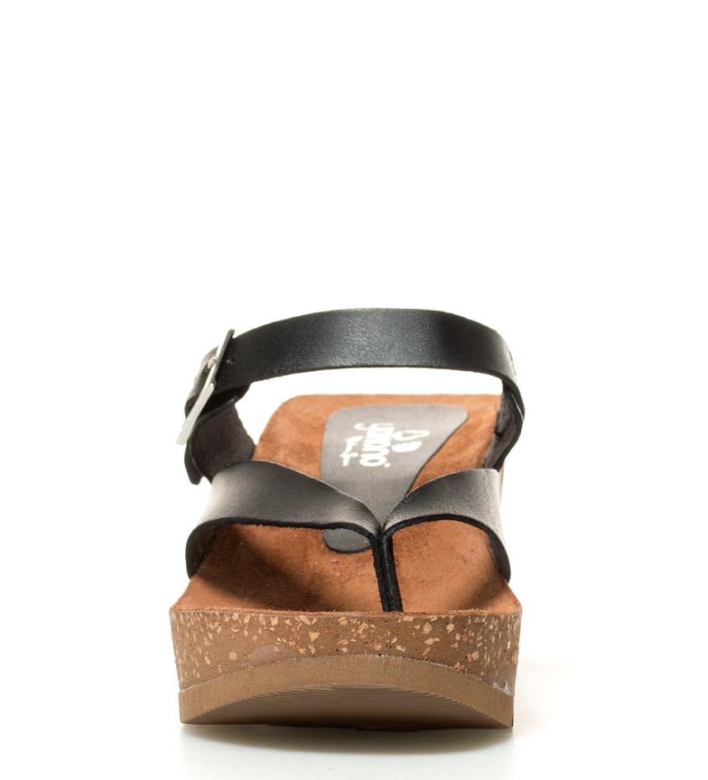 Altura 5cm br br negro Yokono piel Bari 6 de cuña Sandalias FUqSB