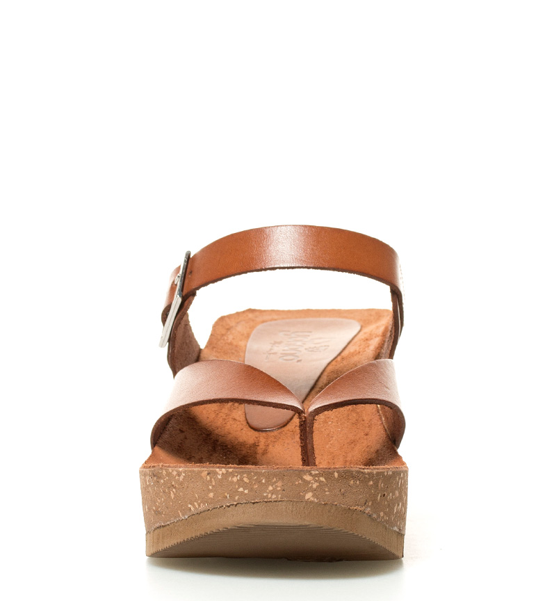 marrón cuña 5cm piel Yokono Altura br de br Bari Sandalias 6 gHnUxOI