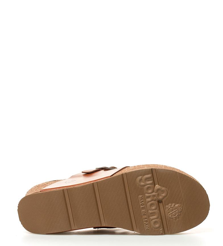 5cm br br Bari 6 Sandalias marrón Yokono piel cuña Altura de nHx6BwOC