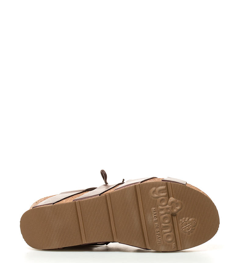 Yokono Bari 5cm br de Sandalias 6 cuña Altura piel marrón br 7w7frq
