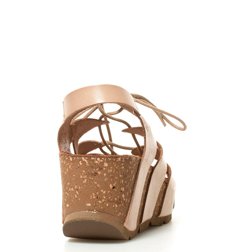 beige Yokono br br 5cm piel 6 cuña Sandalias de Altura Bari IwAqO71w
