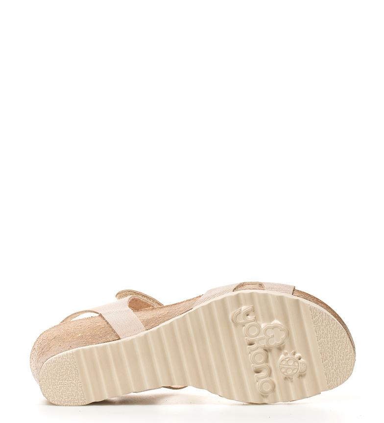 Yokono Sandalias de piel Cadiz beige Altura cuña: 5,5cm