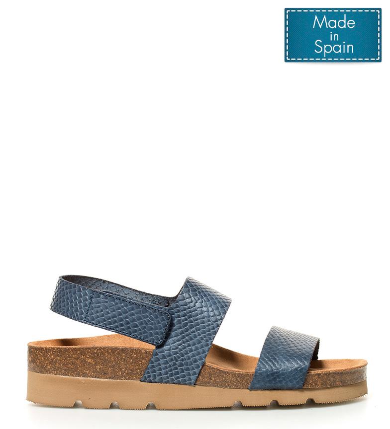 Altura Yokono piel br plataforma Denis de 4cm azul br Sandalias W0pnF0Pqw